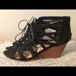 Size 7 strappy tie wedges